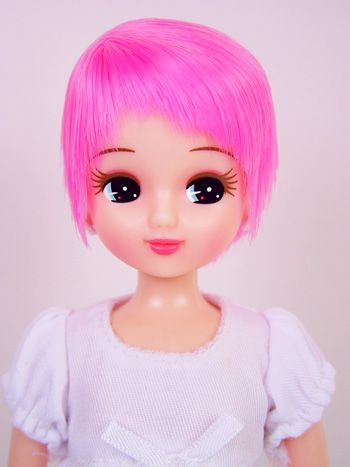 Licca doll, short pink hair