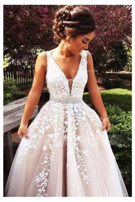 FANCY SLEEVELESS V NECK IVORY LACE OVERLAY NUDE TULLE LONG COAST PROM DRESS WITH CRYSTAL RIBBON