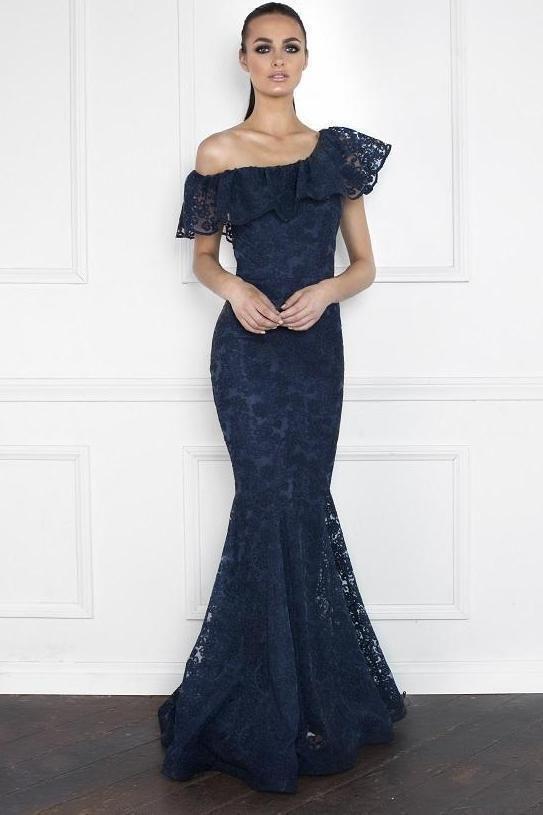 5ae80b4ec2 Nicole Bakti Off Shoulder Ruffle Lace Gown in 2019