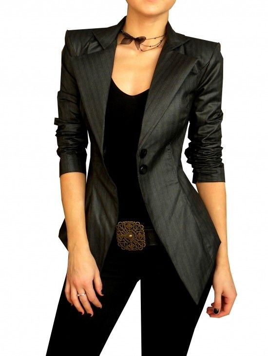 the jacket. Fitted charcoal grey jacket belt ornate buckle black shirt necklace pants bow