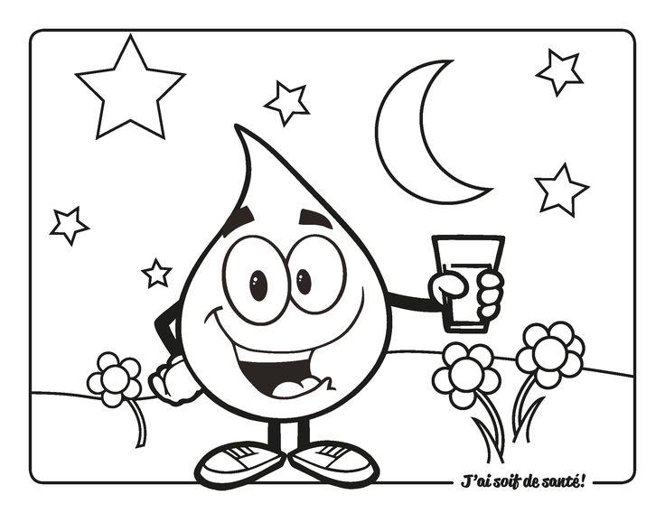 Trouvez des coloriages amusants du Défi Tchin-tchin : http://www.gardescolaire.org/aqgs/projets/jai-soif-de-sante/ #eau #tchintchin #eleves #ecole #midi