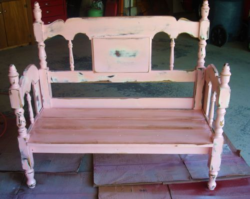 Turn an old bed frame into a bench! Take a headboard and a foot board, make several cuts and adjustments, add some nails and wood glue – voila…it becomes a bench. Then paint it a cute shabby pink color and it turns into the most adorable bench ever!!