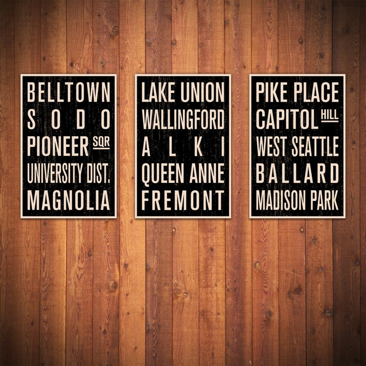 3 SEATTLE SUBWAY SIGNS these would