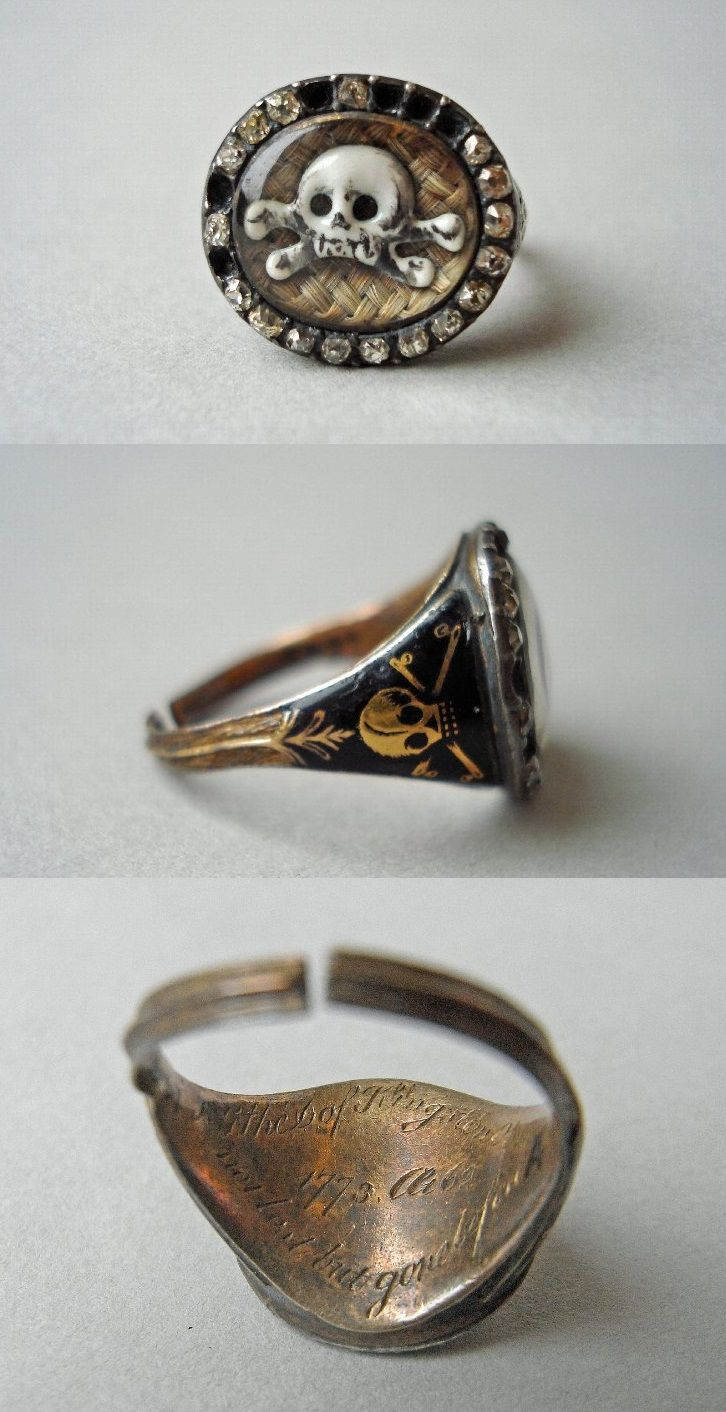 Mourning ring, made in England, 1773 (source). The ring memorializes the death of Sir Evelyn Pierrepont, second Duke of Kingston. The inscription reads: H.G. the D. of Kingston ob.23.Sep.1773.Aet.62. Not lost but gone before.