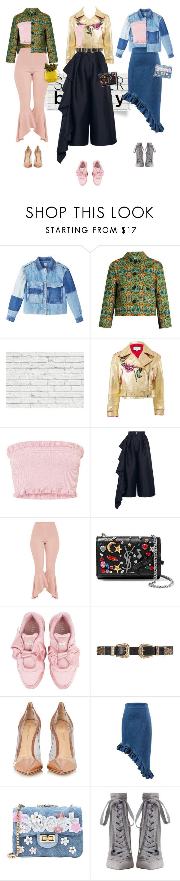 """""""1 crop 3 'fits - 1, 2 or 3 ?"""" by fairuzamoon ❤ liked on Polyvore featuring Miu Miu, Brewster Home Fashions, Gucci, Solace, Yves Saint Laurent, Puma, B-Low the Belt, Gianvito Rossi, George J. Love and Zimmermann"""