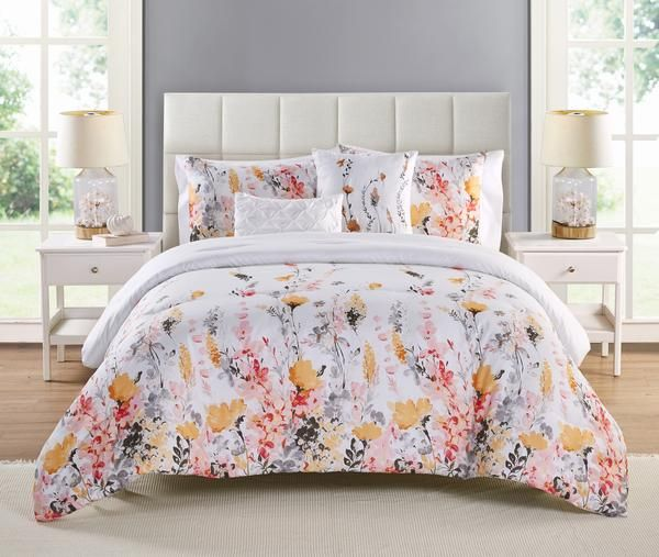 Vcny Home Multicolored 4 Piece Twin Xl Floral Comforter Set