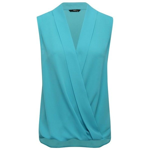 M&Co Wrap Front Blouse ($29) ❤ liked on Polyvore featuring tops, blouses, turquoise, turquoise top, sleeveless tops, draped v neck top, blue blouse and v-neck top
