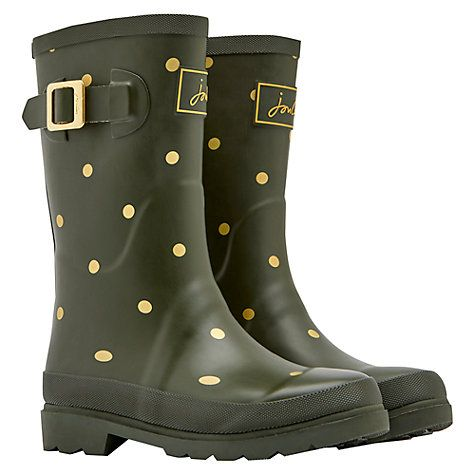 Buy Joules Gold Spot Wellington Boot, Woodland Green £24.95