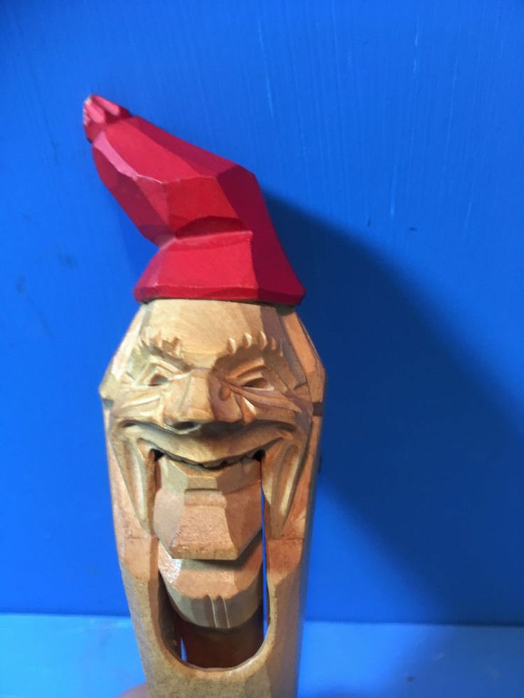 VINTAGE NUT CRACKER HAND CARVED WOOD XLT. COND. PARTIAL STICKERS STILL ATACHED