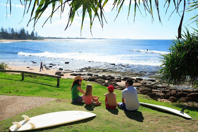 Surfing at Moffat Beach - Sunshine Coast