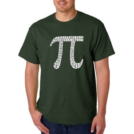Los Angeles Pop Art Men's T-shirt - The First 100 Digits of PI, Size: Medium, Green