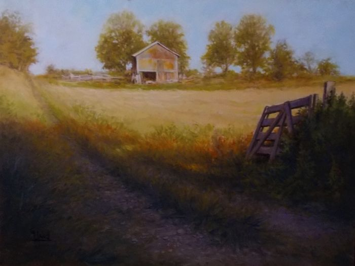 """Old Farm Gate West of Omimi..........Pigon Lake.......18""""x 24""""..Oil Painting by.........Greg Hand."""