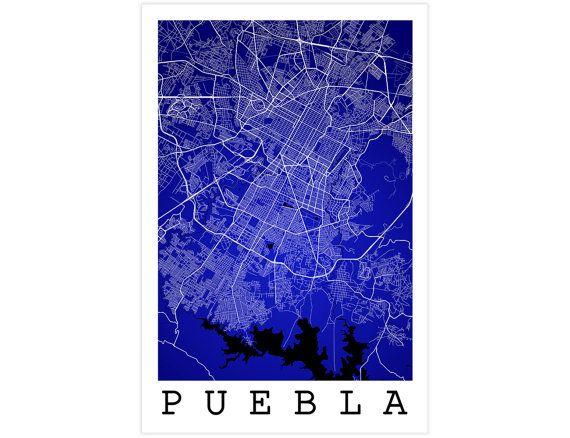 Puebla City Street Map Puebla Mexico Modern Art Print