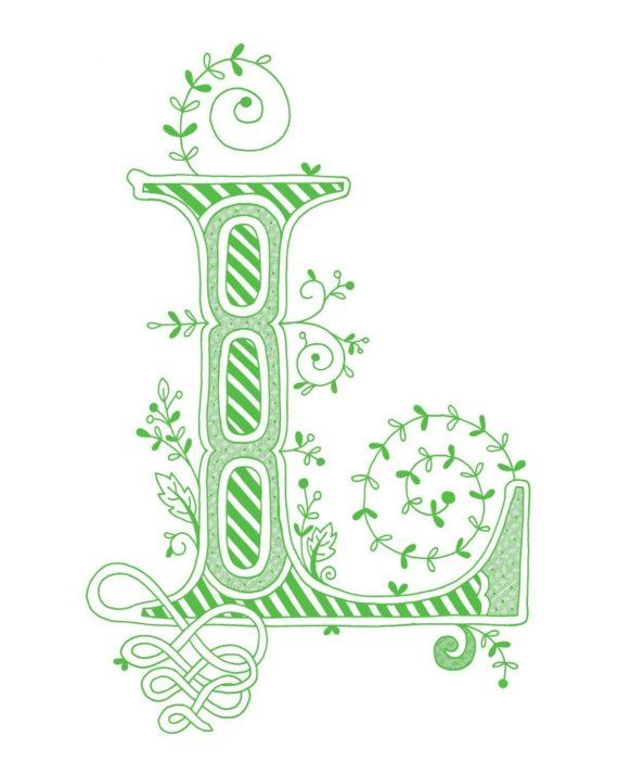 Hand drawn monogrammed print 8x10 the Letter L in by jenskelley, $15.00