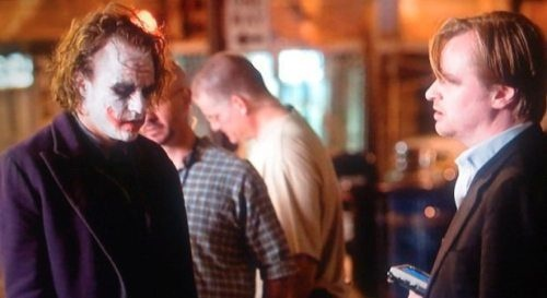 Heath Ledger & Christopher Nolan  during the filming of The Dark Knight