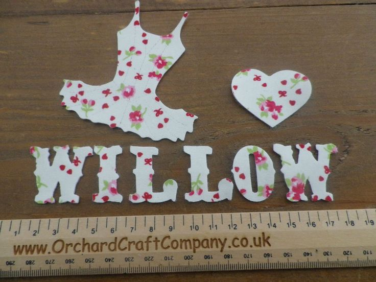 floral print iron on applique ballet dress up to 7 letters with matching heart