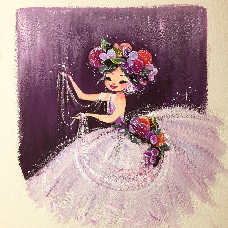 """Hope you all had a very merry Christmas & when you go to bed, may visions of sugar plums dance in your heads. :)  #sugarplum #gouache"""