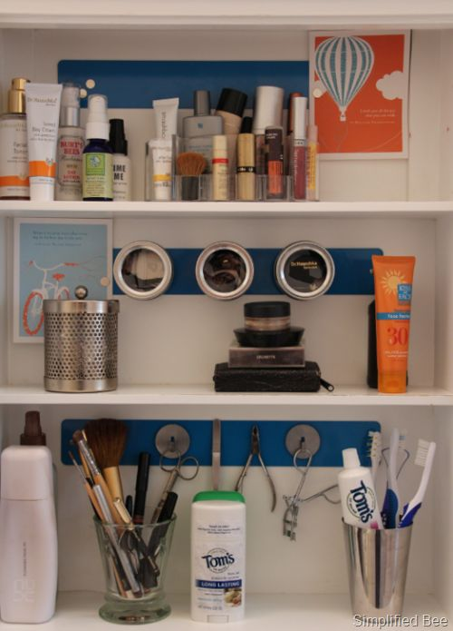 Medicine Cabinet w/Magnetic Rails.  Hmm.  I have a few of these magnetic strips I need a use for.  Good idea.Cabinets Wmagnet, Cabinets W Magnets, Medicine Cabinets Organic, Magnets Strips, W Magnets Railings, Bathroom Medicine, Inspiration Quotes, Bathroom Cabinets, Storage Ideas