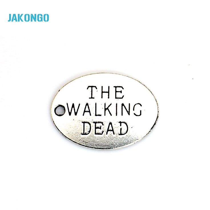 20pcs Antique Silver Plated Walking Dead Charms Pendants for Bracelet Jewelry Making DIY Necklace Craft 24x17mm