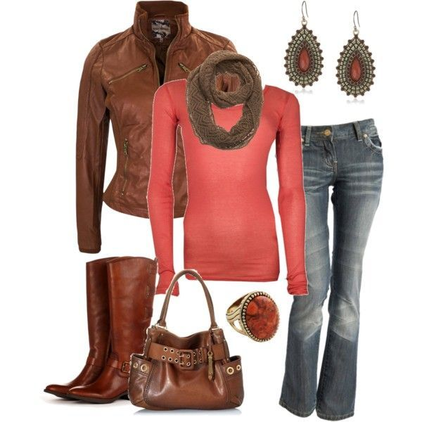 The coral color makes the outfit pop.
