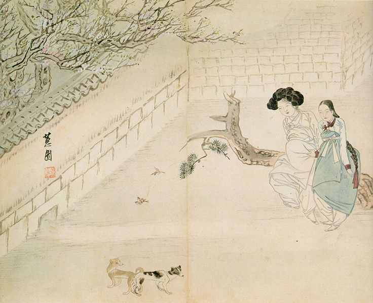 Korean Traditional art by Shin Yun-bok:  A widow's lust in spring /1805