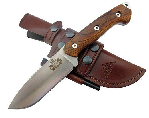 TRAPPER-COCO - Premium Qualität - professionell Überlebensmesser, Gürtelmesser, Outdoor Survival Messer, Jagdmesser, Stahl MOVA-58, Lederscheide + Feuerstahl. Entworfen und Hergestellt in Spanien