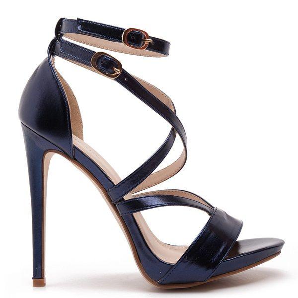 Ηigh heel sandals in blue metallic colour, with double ankle straps.