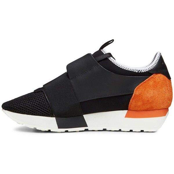 Balenciaga Black and Orange Women's Trainer (€620) ❤ liked on Polyvore featuring shoes, sneakers, balenciaga sneakers, balenciaga, kohl shoes, black shoes and balenciaga shoes