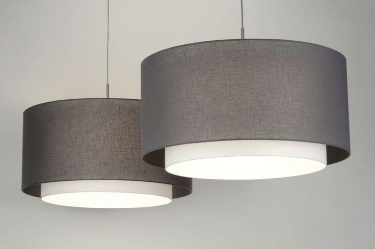 Hanglamp 30420 modern antraciet stof rond langwerpig