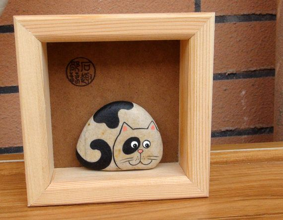 Items similar to Cat Kitty Hand Painted Pebble Stone in a Frame on Etsy