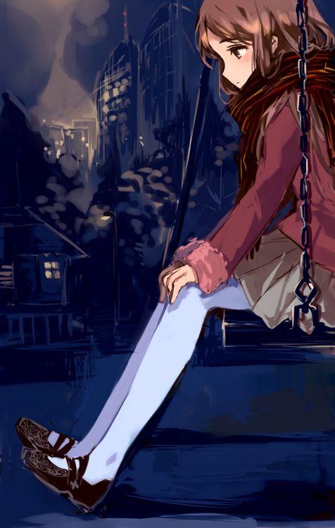 anime girl on swing.       Pretty.       Scarf            Brown hair