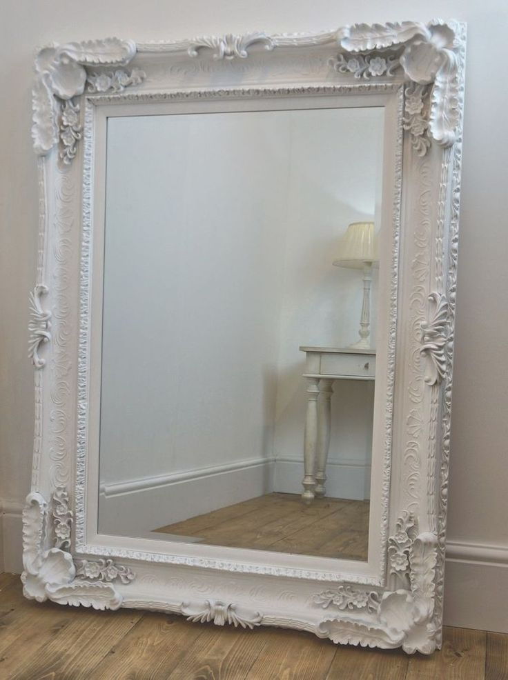 Beveled Mirror Wood Frame Large Beveled White Ornate French Shabby Chic Wall Mirror