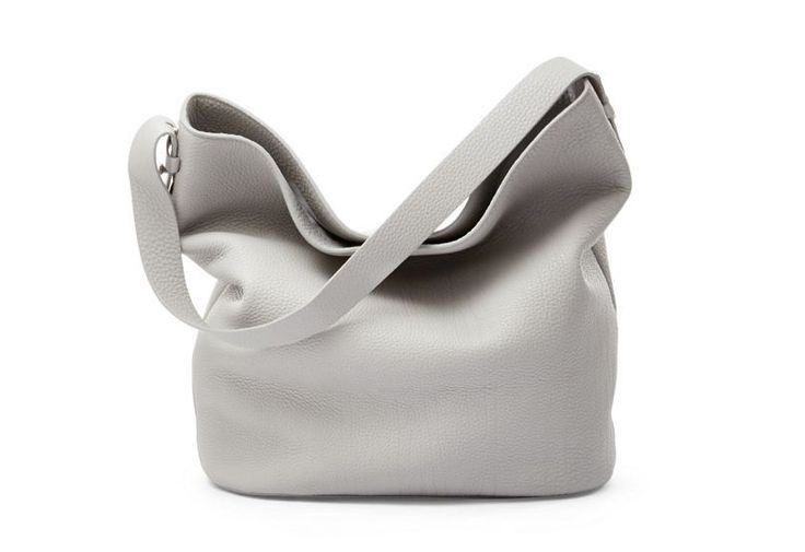 NWT Skagen Denmark Karyn Mini Bucket Bag in Pebbled Leather - Light Ash
