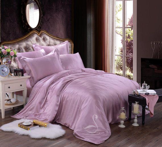 lavender silk bedding set duvet cover set violet luxury pure silk bedding