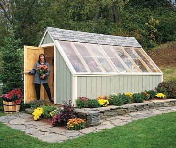 "Sun-Loving Shed  This do-it-yourself shed uses a 12/12 pitch glazed roof designed to face south for maximum light and solar heat gain. This panelized ""sun shed"" features ample room for several gardeners to work at once, a potting bench, and space for starting flats of seedlings. A flagstone walkway and raised beds on the sunny south side further warm the spot.  Attach to the chicken coop?"