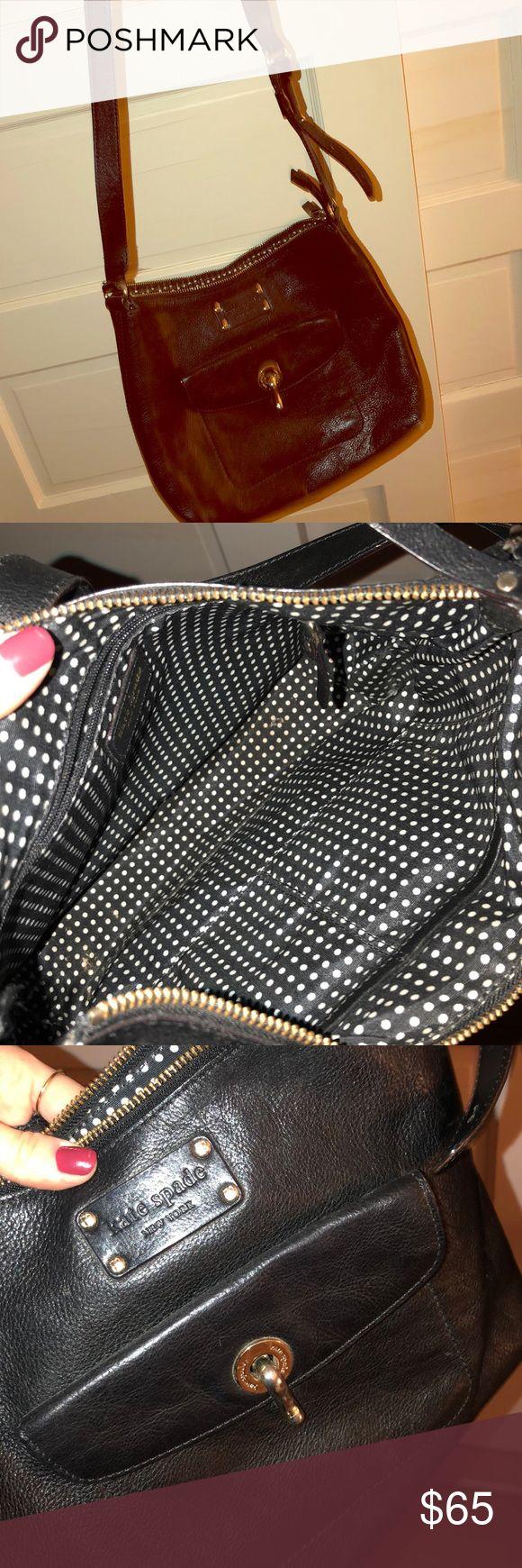 Kate Spade Shoulder Bag Black KS shoulder bag with black polka dot interior. Great condition with exterior pocket. kate spade Bags Shoulder Bags