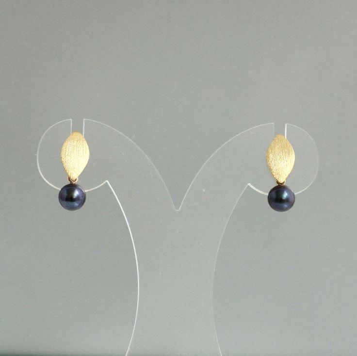 Perlen Ohrringe schwarz echte Zuchtperlen 8 mm gold