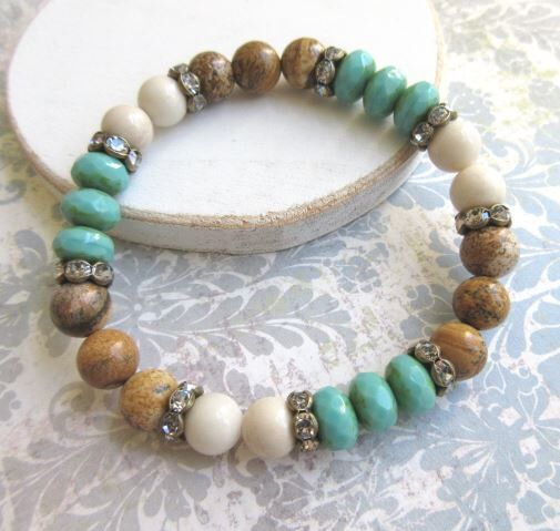 Colorful Bohemian Stretch Bracelet. Rustic Stackable Stretchy Bracelet. Mixed Bead Chic Luxe. Turquoise Color Czech Glass Bracelet. by TheBeadedCottage on Etsy https://www.etsy.com/listing/253924880/colorful-bohemian-stretch-bracelet