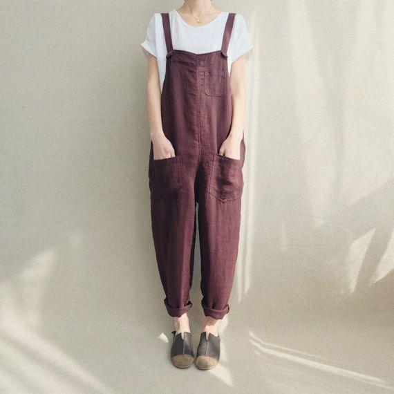Vrouwen Casual linnen Jumpsuits Overalls broek met zakken Vintage linnen Harem broek