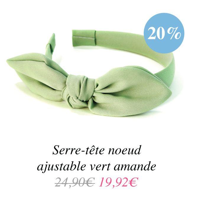 http://www.jolietete.fr/serre-tete-noeud-ajustable-vert-amande #headband #headbandbijou #soldes #accessoirescheveux #bandeaucheveux #bijoudetete #serretete
