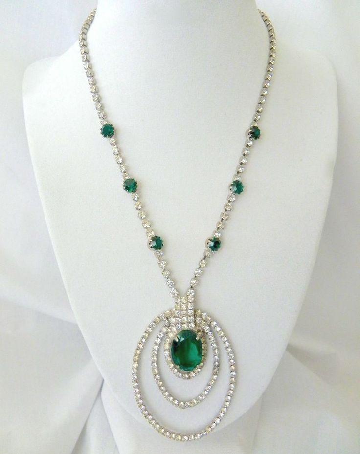 "VTG Art Deco Rhinestone Necklace Clear & Emerald Green Rhinestone Necklace 18"" L #Unbranded #Statement"