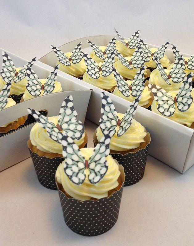 Black Spot Butterfly Cupcake Kit. Click here http://www.icingonthecakekits.com/item_108/Black-Spot-Butterfly-Cupcake-Kit.htm $39.95