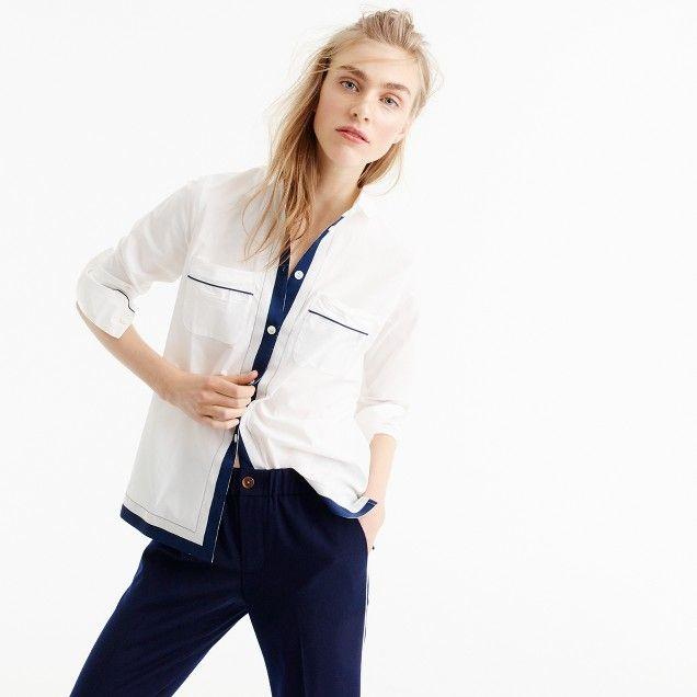 Pajama shirt with grosgrain trim
