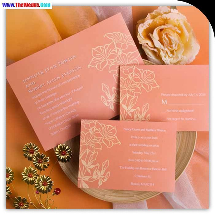 wedding renewal invitation ideas%0A golden phrase coral wedding invitations