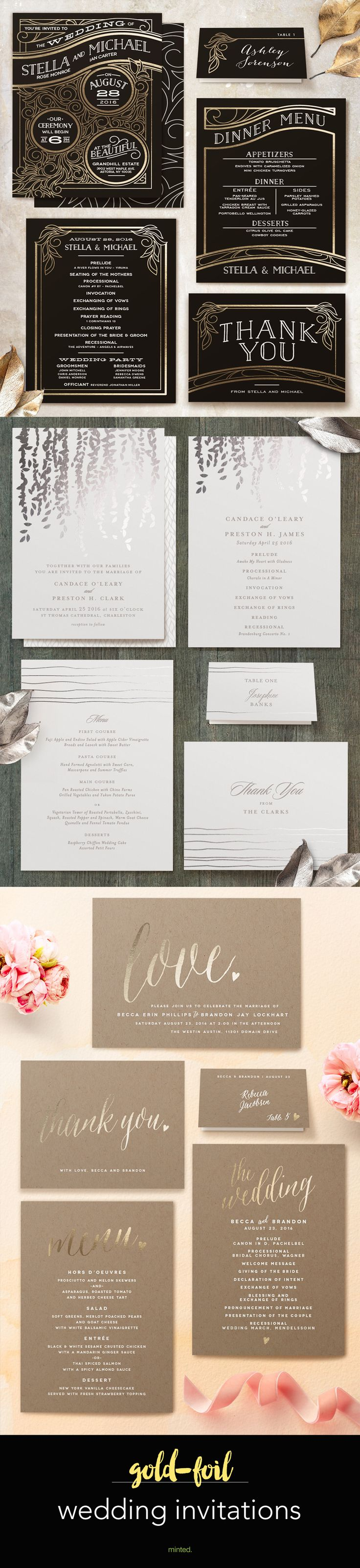 marriage invitation sms on mobile%0A   gorgeous gold wedding invitations with programs  place cards  and menus  from Minted