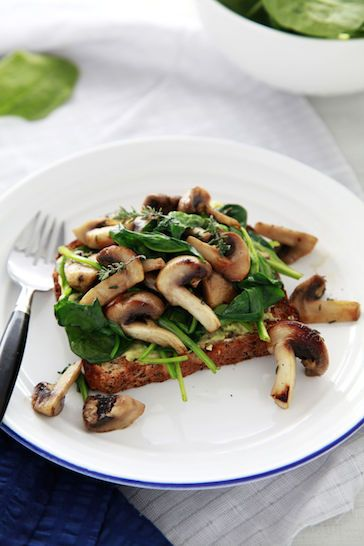 Herbed mushroom and spinach on toast