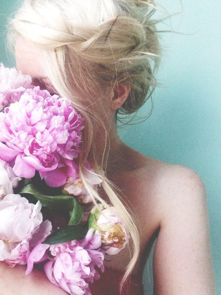 Blonde hair and purple peonies!