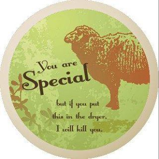 Funny knitting humor: You are special, but if you put this in the dryer, I will kill you.