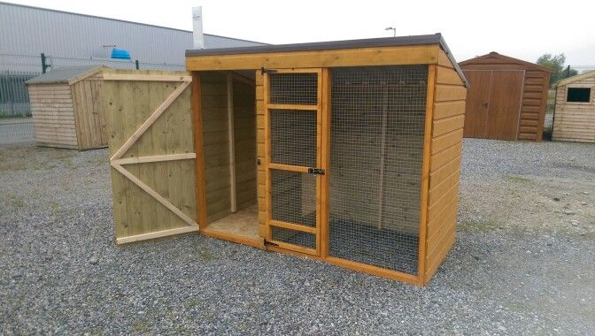 8 x 4 x 6 Dog Run  Made from pressure treated shiplap board. Standard Steel Non Drip Roof,  Raised flooring Kennel Section Smart Ply, From €500 @ www.stsheds.com