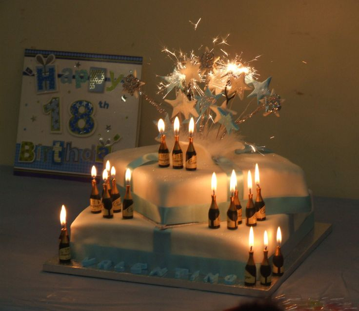 My Son's 18th Birthday Cake With Champagne Bottle Candles